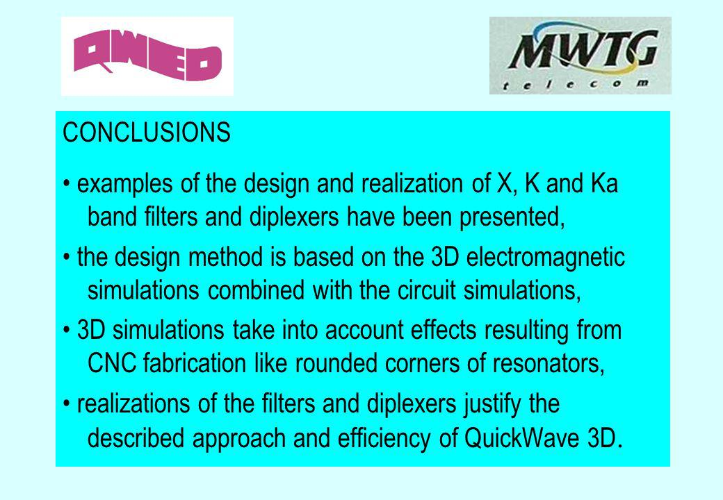 CONCLUSIONS • examples of the design and realization of X, K and Ka band filters and diplexers have been presented,