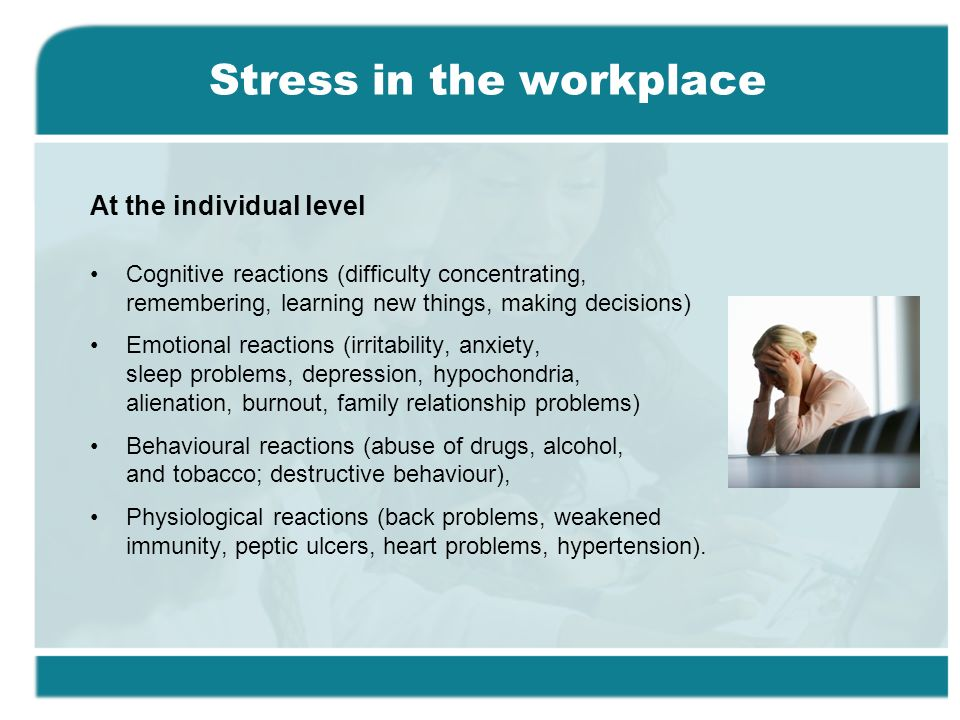 stress and depression in the workplace It bred a hostile environment and contempt for the workplace  someone is not  good enough, of depression and questioning one's own worth.
