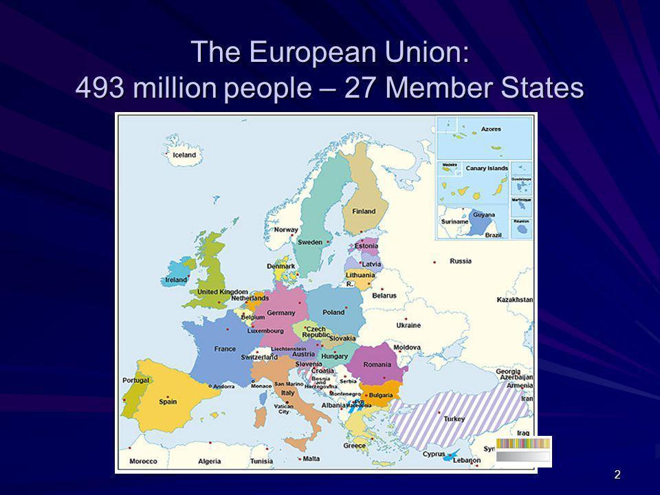 The European Union: 493 million people – 27 Member States
