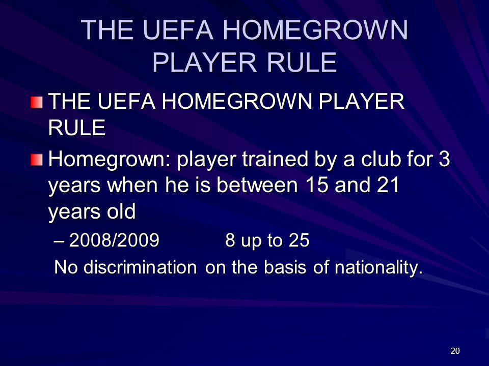 THE UEFA HOMEGROWN PLAYER RULE