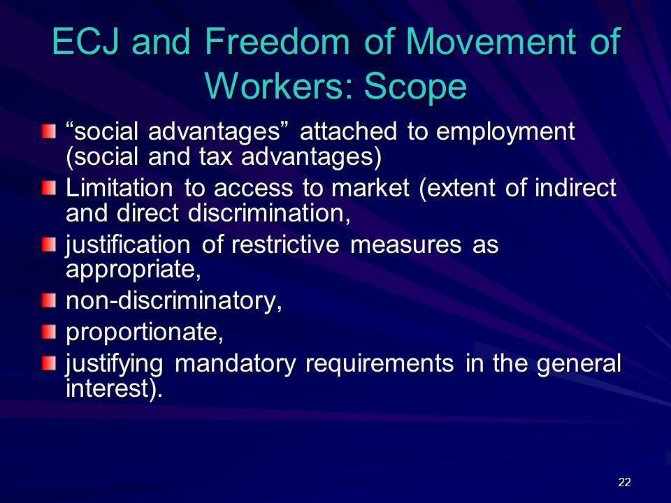ECJ and Freedom of Movement of Workers: Scope