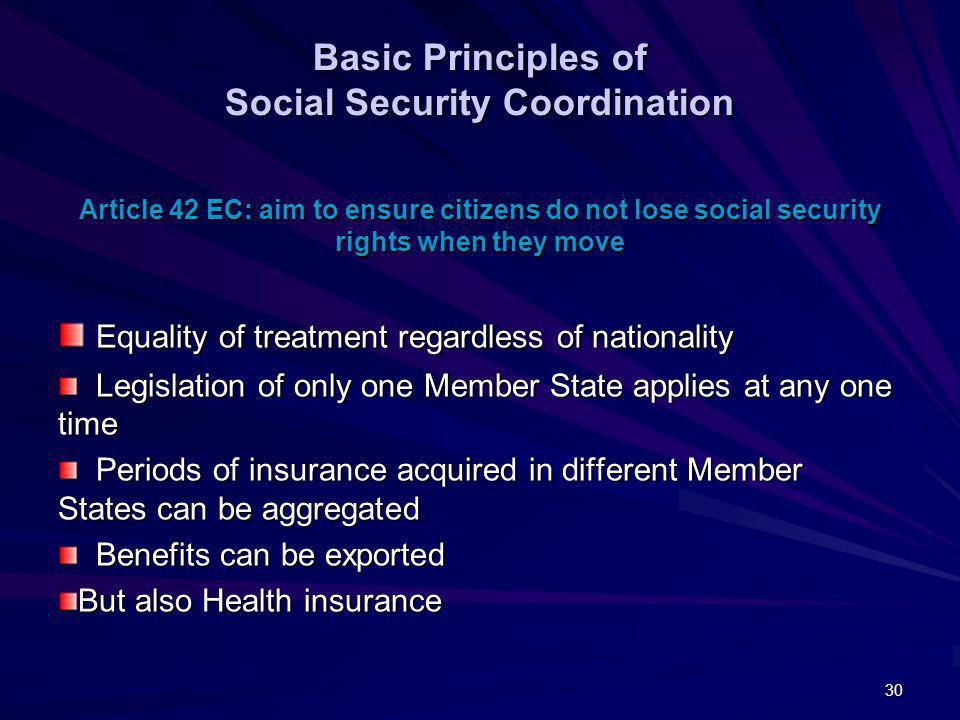 Basic Principles of Social Security Coordination