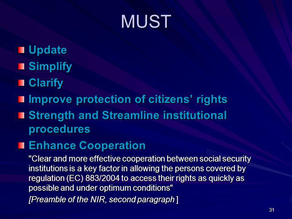 MUST Update Simplify Clarify Improve protection of citizens' rights