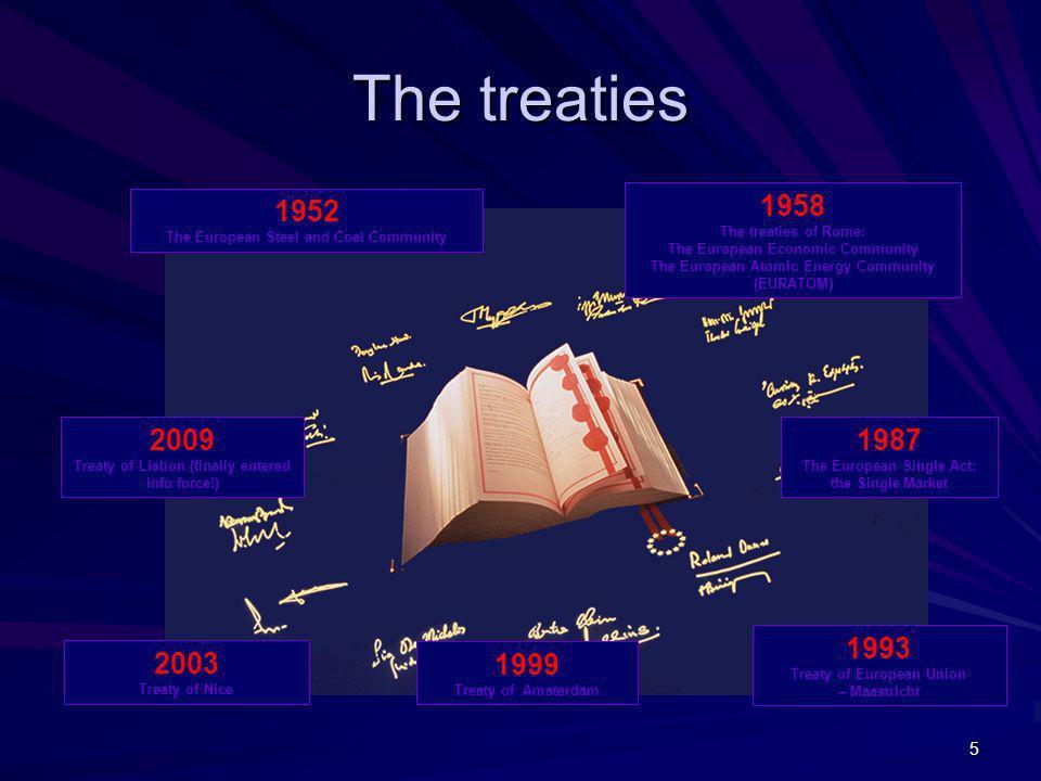 The treaties 1952 The European Steel and Coal Community