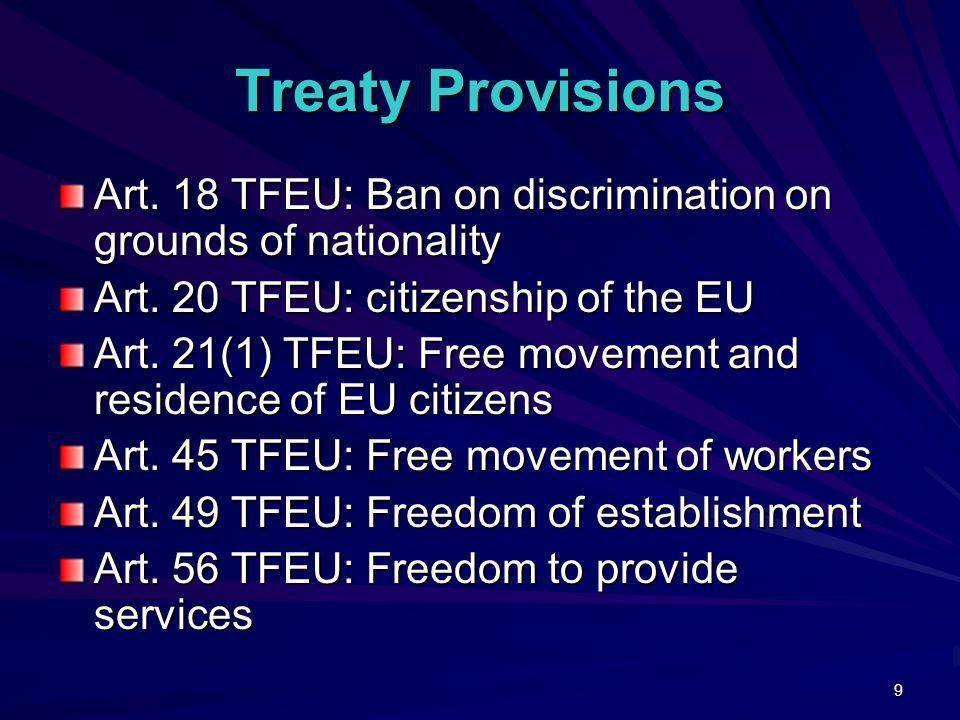 Treaty Provisions Art. 18 TFEU: Ban on discrimination on grounds of nationality. Art. 20 TFEU: citizenship of the EU.