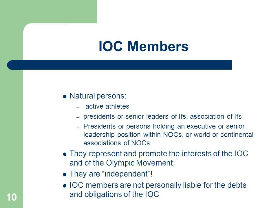 IOC Members Natural persons: