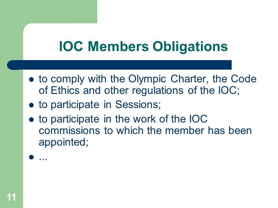 IOC Members Obligations