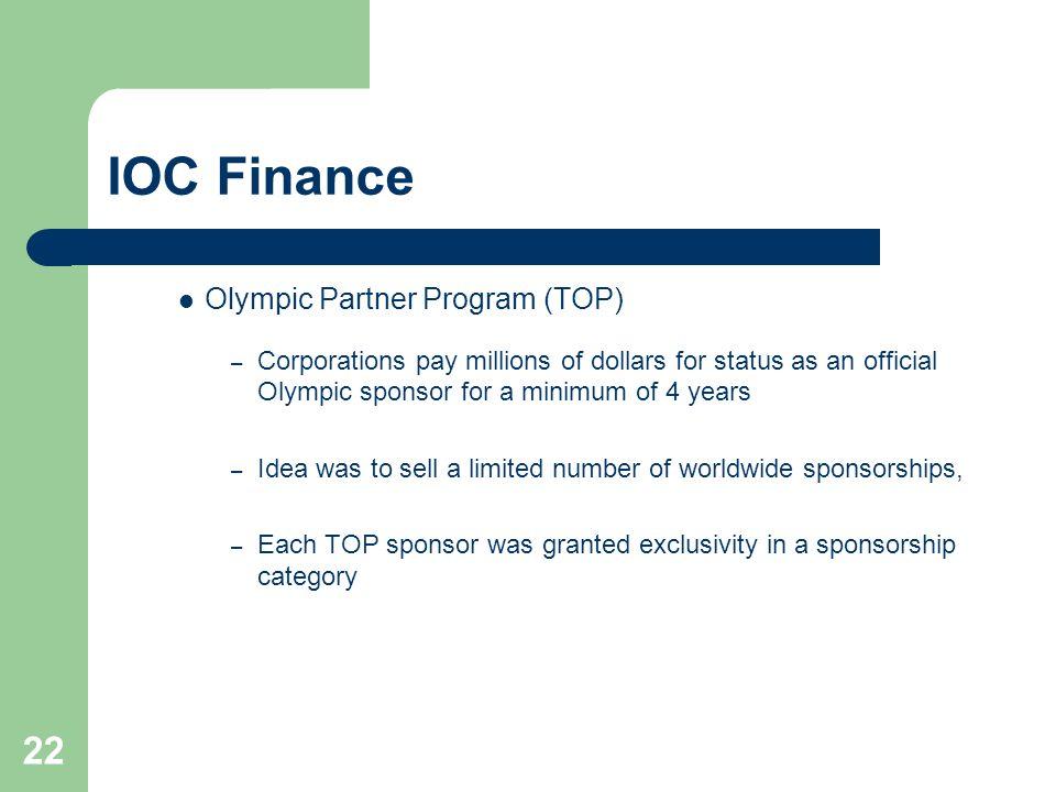 IOC Finance Olympic Partner Program (TOP)