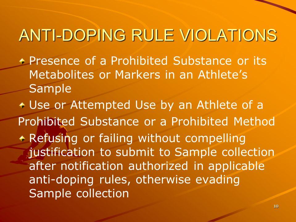 ANTI-DOPING RULE VIOLATIONS