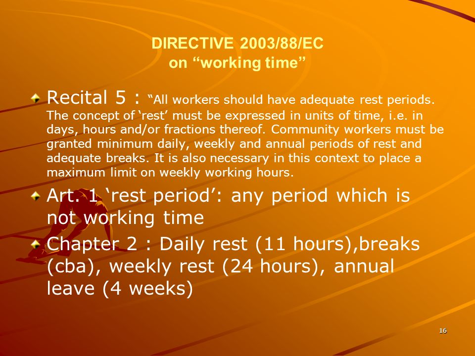 DIRECTIVE 2003/88/EC on working time