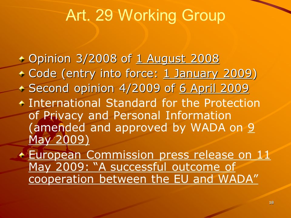 Art. 29 Working Group Opinion 3/2008 of 1 August 2008