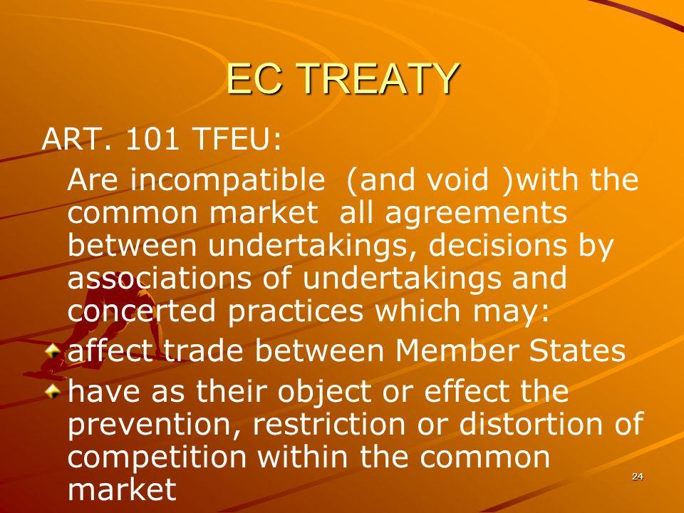 EC TREATY ART. 101 TFEU: