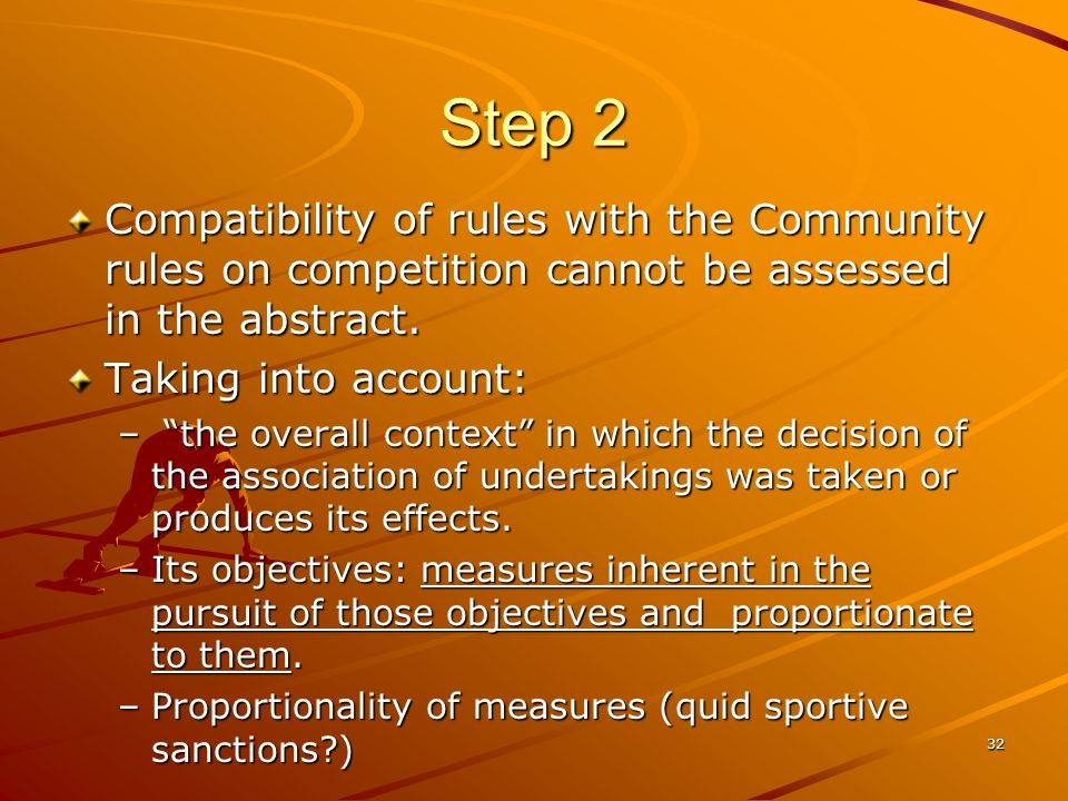 Step 2 Compatibility of rules with the Community rules on competition cannot be assessed in the abstract.