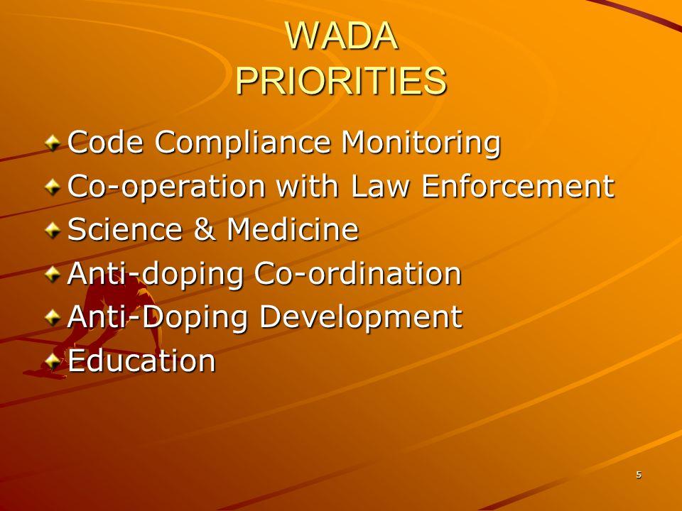WADA PRIORITIES Code Compliance Monitoring