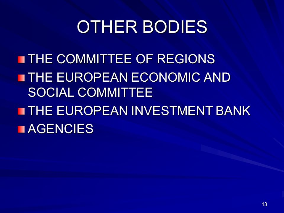 OTHER BODIES THE COMMITTEE OF REGIONS
