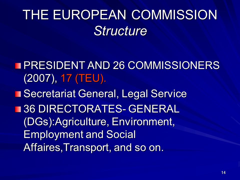 THE EUROPEAN COMMISSION Structure