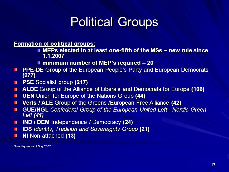 Political Groups Formation of political groups: