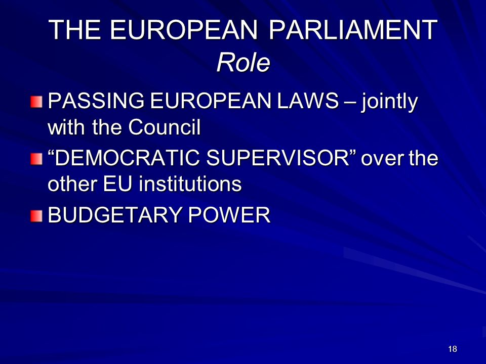 THE EUROPEAN PARLIAMENT Role