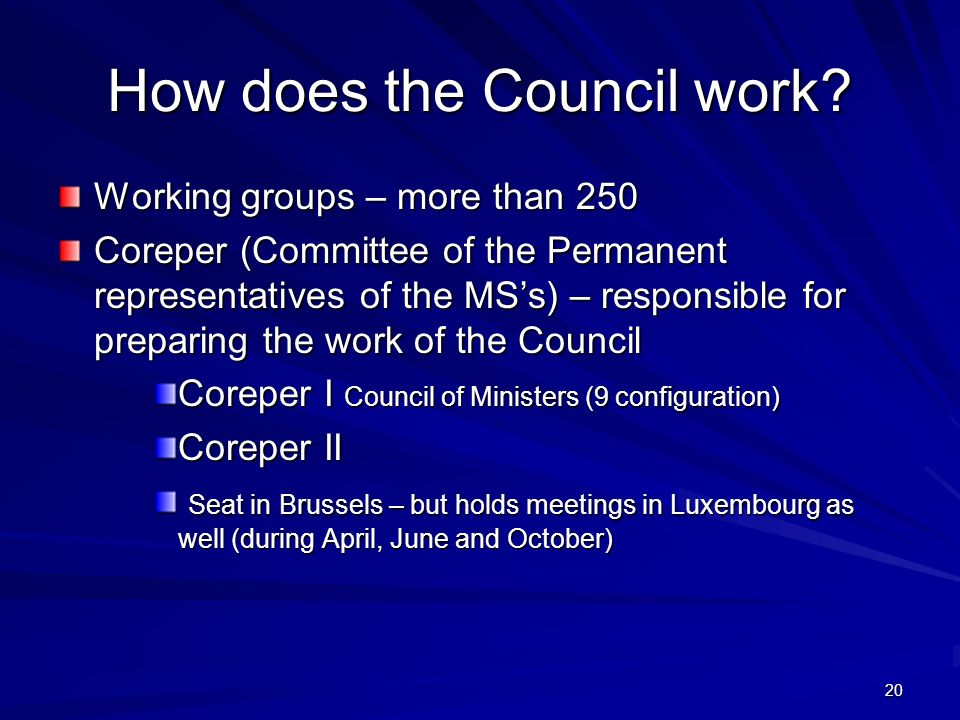 How does the Council work