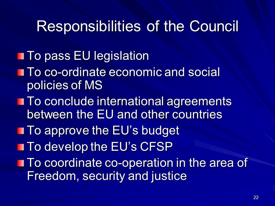 Responsibilities of the Council