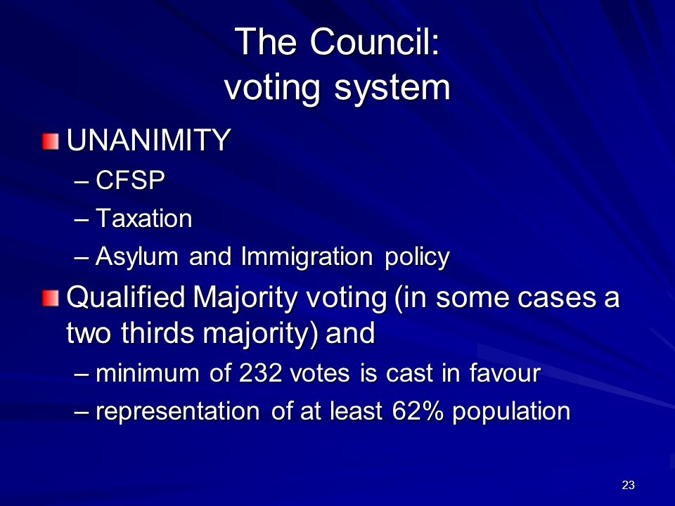 The Council: voting system