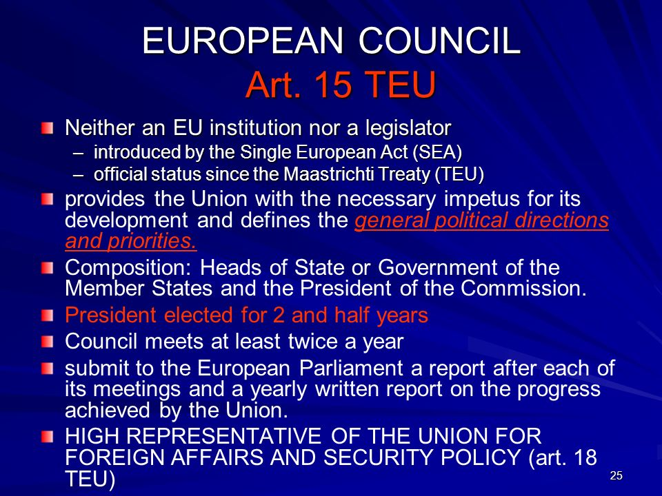 EUROPEAN COUNCIL Art. 15 TEU