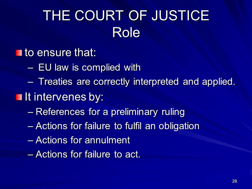 THE COURT OF JUSTICE Role