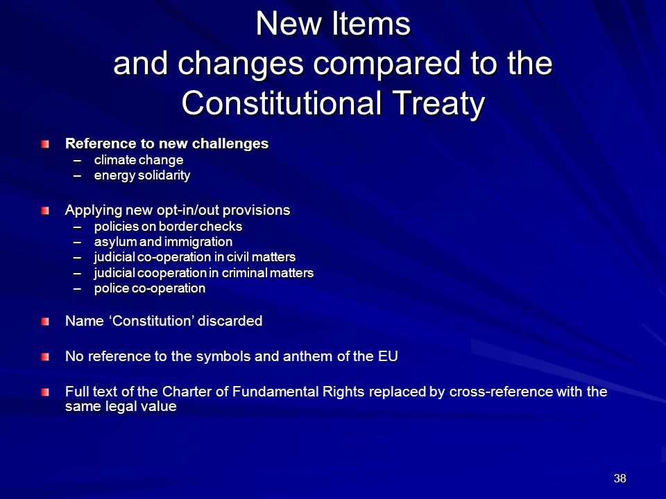 New Items and changes compared to the Constitutional Treaty
