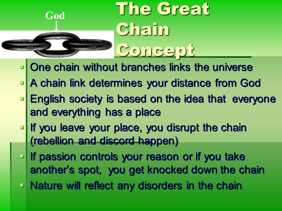 a paper on elizabethan society and the great chain of being Influence of william shakespeare english literature essay  with the timeless phrases of the great elizabethan  the concept of the great chain of being.