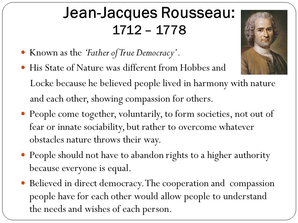 """an analysis of state of nature by jean jacques rousseau Through an examination of a hypothetical """"state of nature"""" (essentially a time prior  to the  jean jacques rousseau and the doctrine of the social contract."""