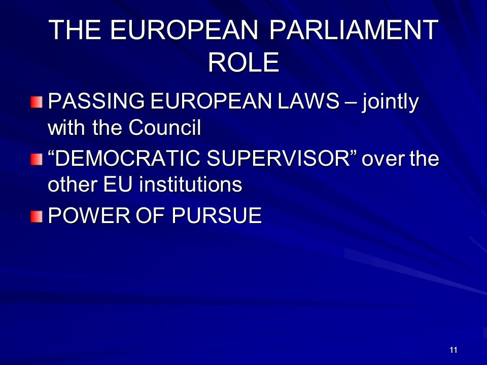 THE EUROPEAN PARLIAMENT ROLE