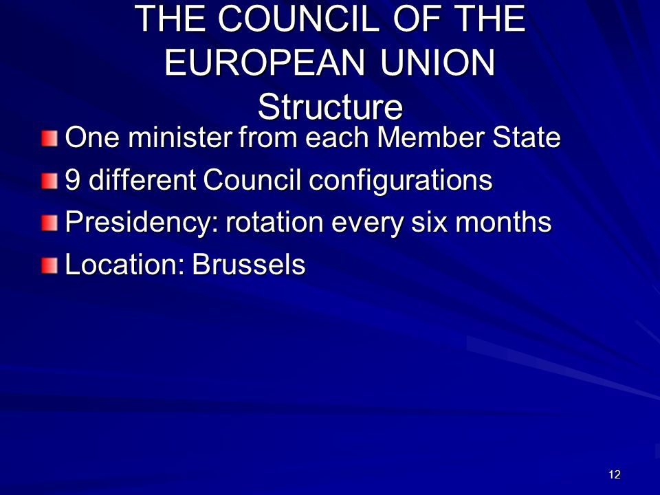 THE COUNCIL OF THE EUROPEAN UNION Structure