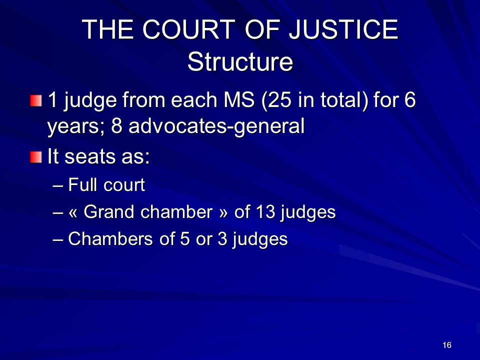 THE COURT OF JUSTICE Structure