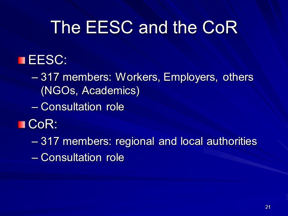 The EESC and the CoR EESC: CoR:
