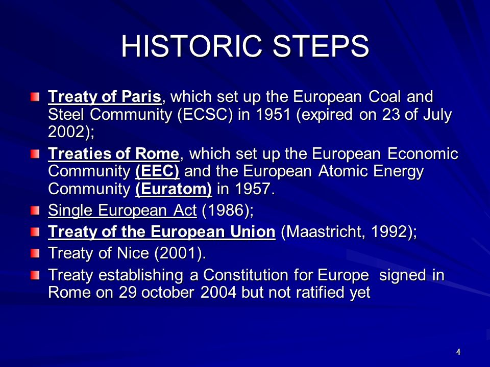 HISTORIC STEPS Treaty of Paris, which set up the European Coal and Steel Community (ECSC) in 1951 (expired on 23 of July 2002);