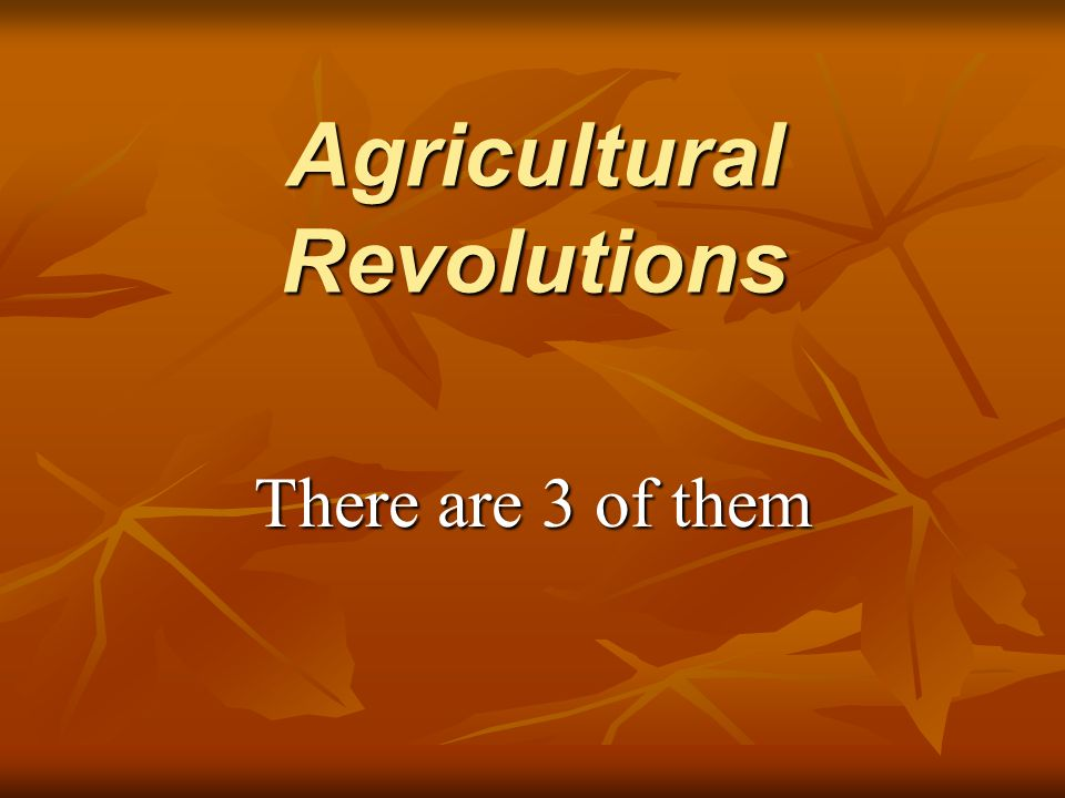 agricultural revolutions The first agricultural revolution, also known as the neolithic revolution, is the transformation of human societies from hunting and gathering to farming this transition occurred worldwide between 10,000 bc and 2000 bc, with the earliest known developments taking place in the middle east.