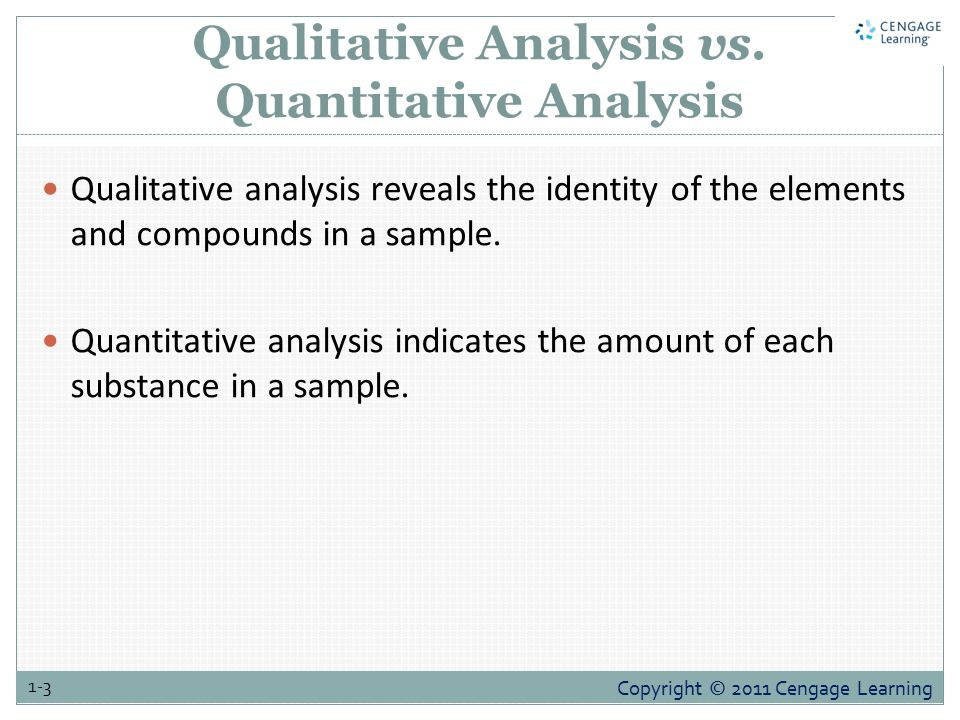 qualitative and quantitative analysis Qualitative - conclusions are derived by non-numerical analysis means  given  that, the term qualitative or quantitative research methods is.