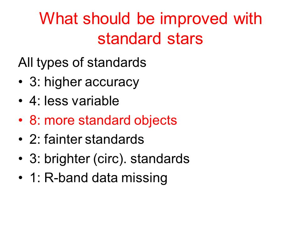 What should be improved with standard stars
