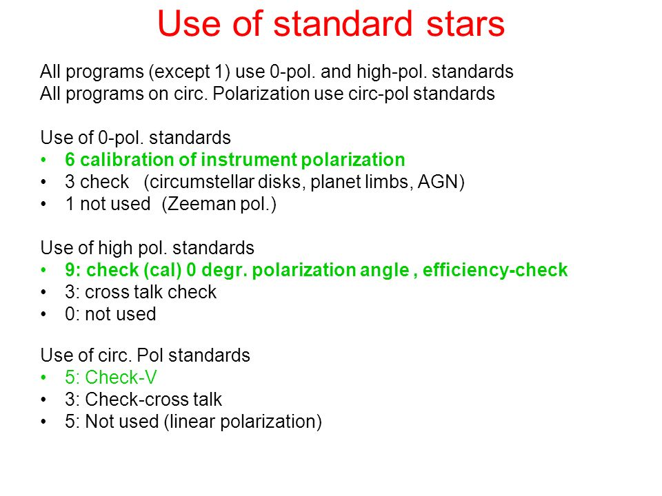 Use of standard stars All programs (except 1) use 0-pol. and high-pol. standards. All programs on circ. Polarization use circ-pol standards.