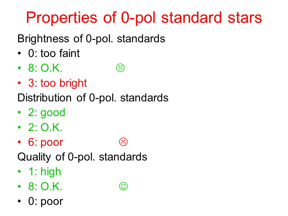Properties of 0-pol standard stars