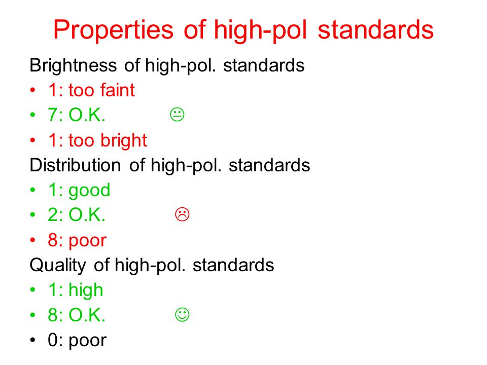 Properties of high-pol standards