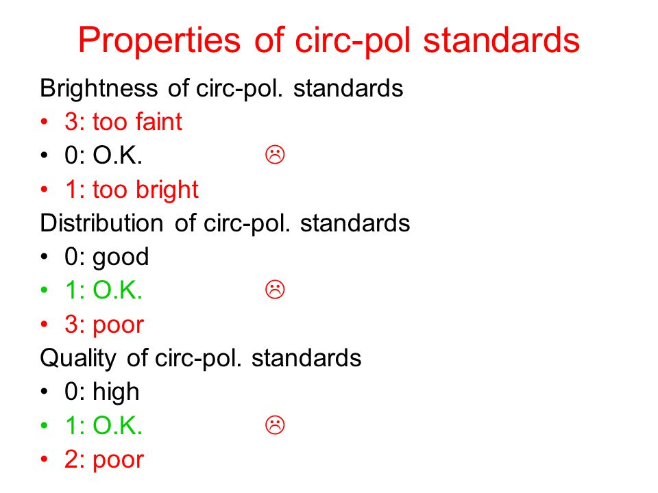 Properties of circ-pol standards