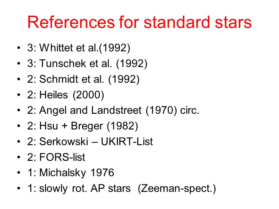 References for standard stars