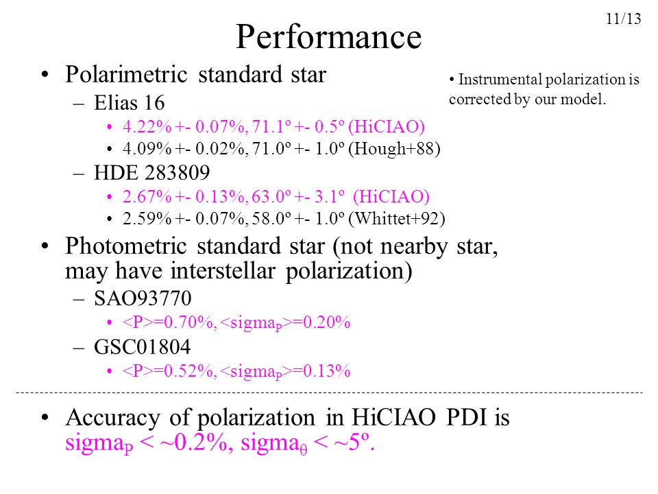 Performance Polarimetric standard star