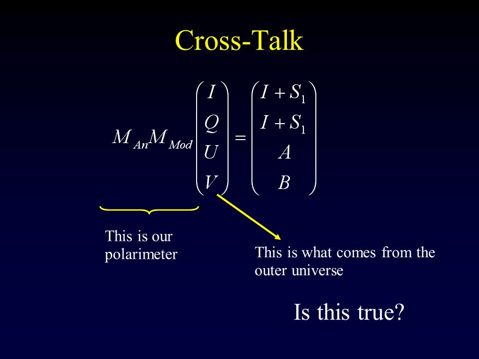 Cross-Talk Is this true This is our polarimeter