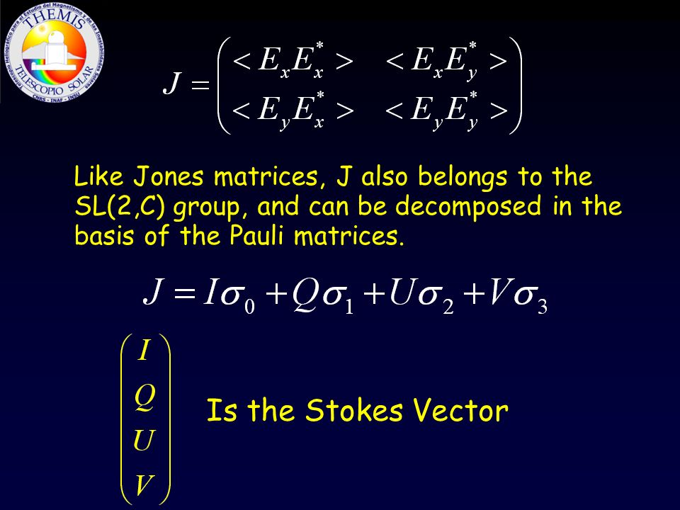 Like Jones matrices, J also belongs to the SL(2,C) group, and can be decomposed in the basis of the Pauli matrices.