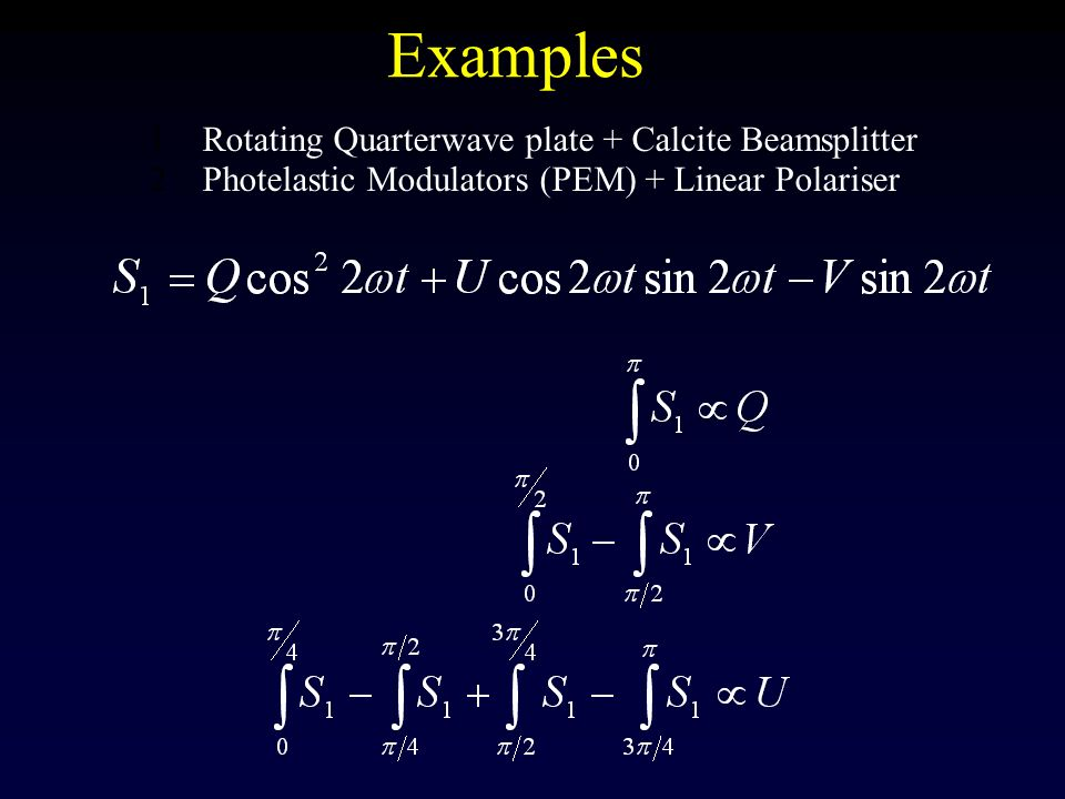 Examples Rotating Quarterwave plate + Calcite Beamsplitter
