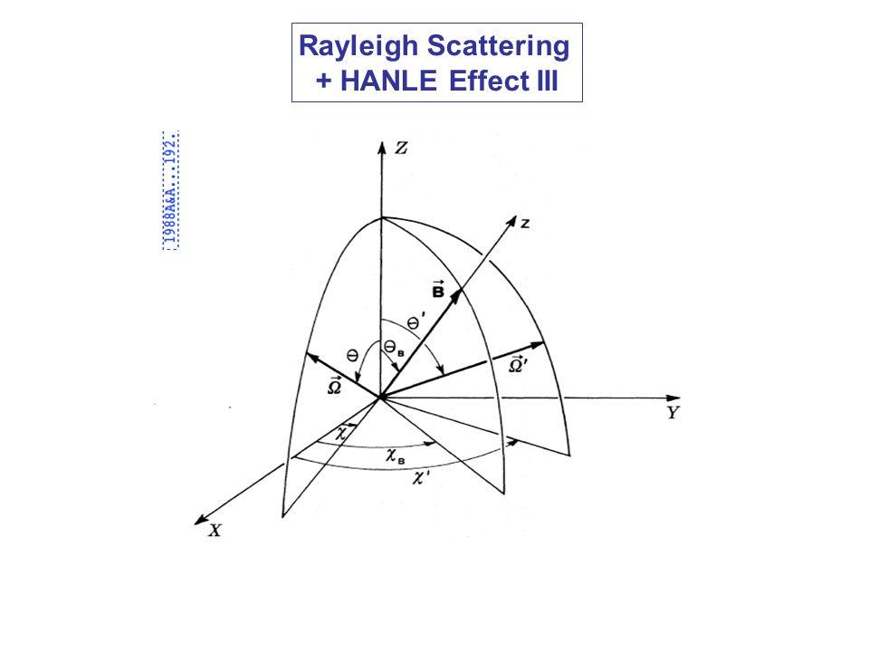 Rayleigh Scattering + HANLE Effect III