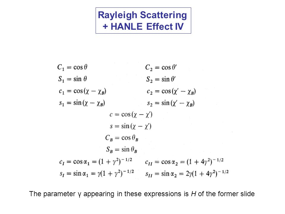 Rayleigh Scattering + HANLE Effect IV