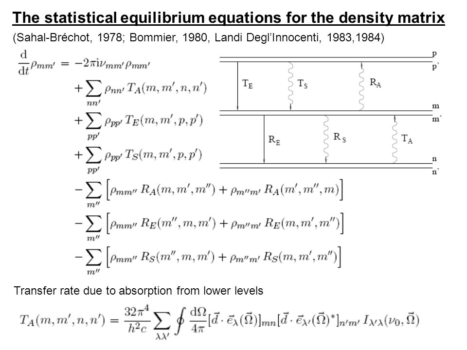 The statistical equilibrium equations for the density matrix